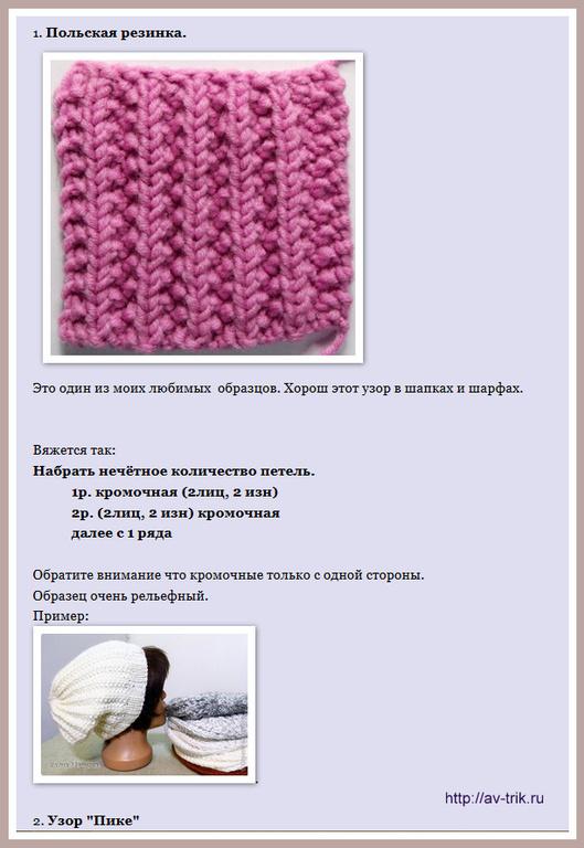 Вязание шапок из толстой пряжи спицами схемы